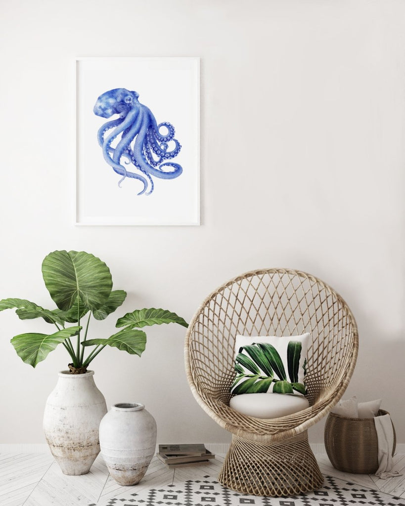 Blue Octopus Watercolor Painting Archival Art Print Hamptons Style Decor Beach Art - Artista Style