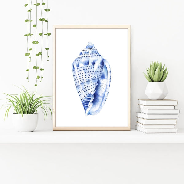 Blue Sea Shell Watercolour Art Print No 1 - Artista Style