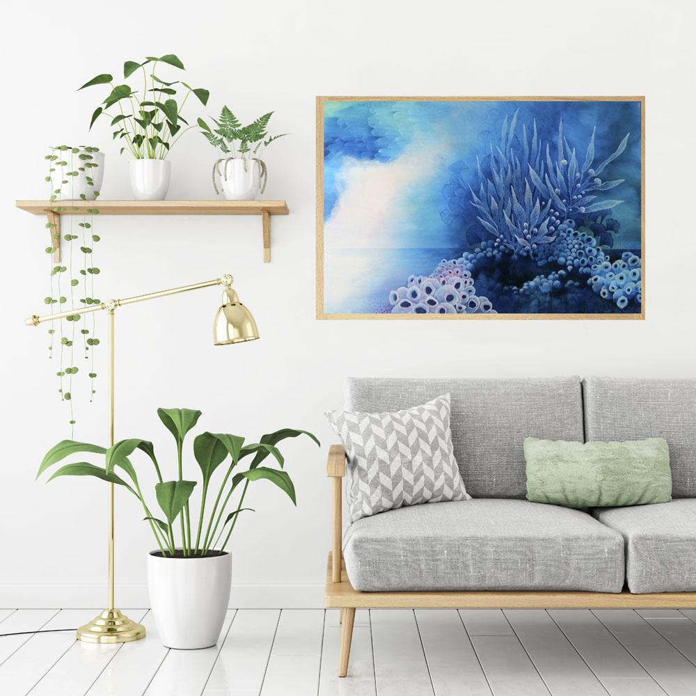 Blue turquoise and white painting inspired by organic forms and the ocean. 60 x 90 cms original Australian Art. Artista Style