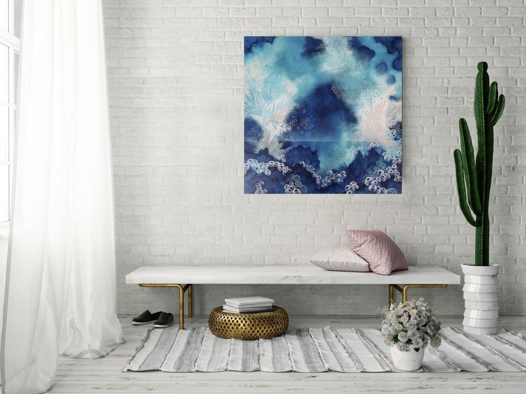 Blue turquoise and white painting inspired by organic forms and the ocean. 'Blue Serenity' 76 x 76 cms - Artista Style