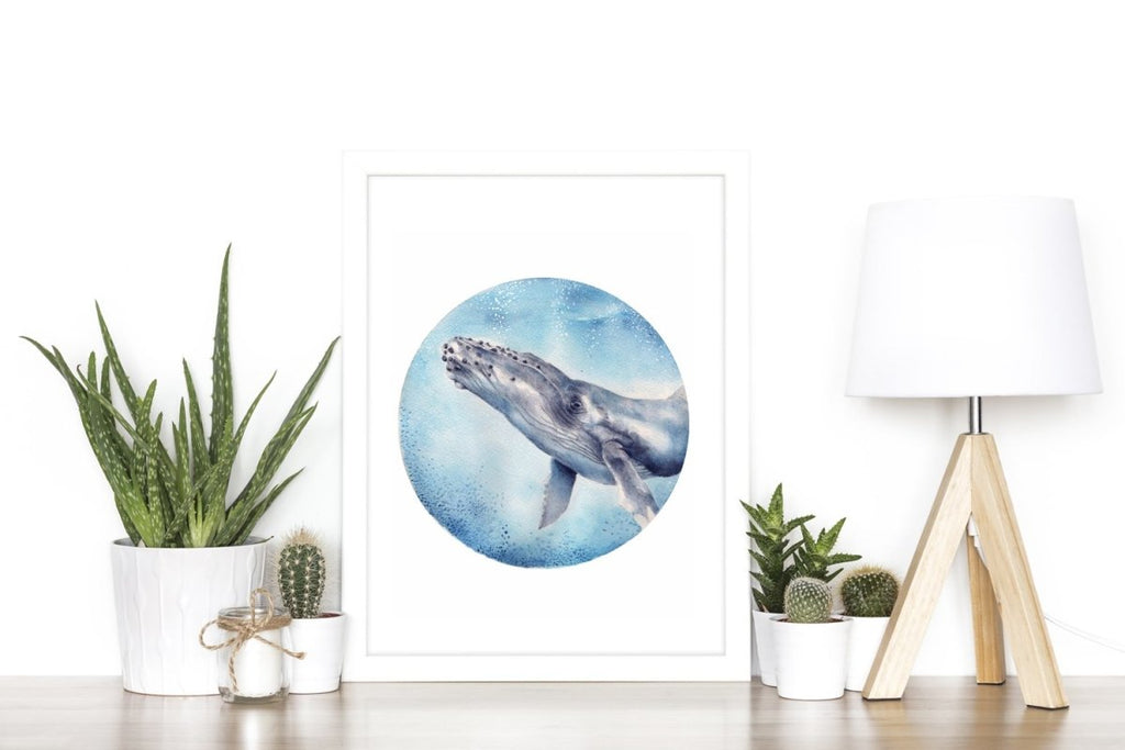 Humpback Whale Watercolour Art Print No 1 - Artista Style