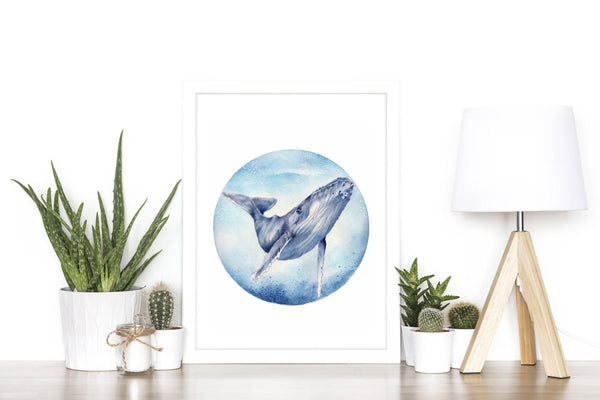 Humpback Whale Watercolour Art Print No 3 - Artista Style