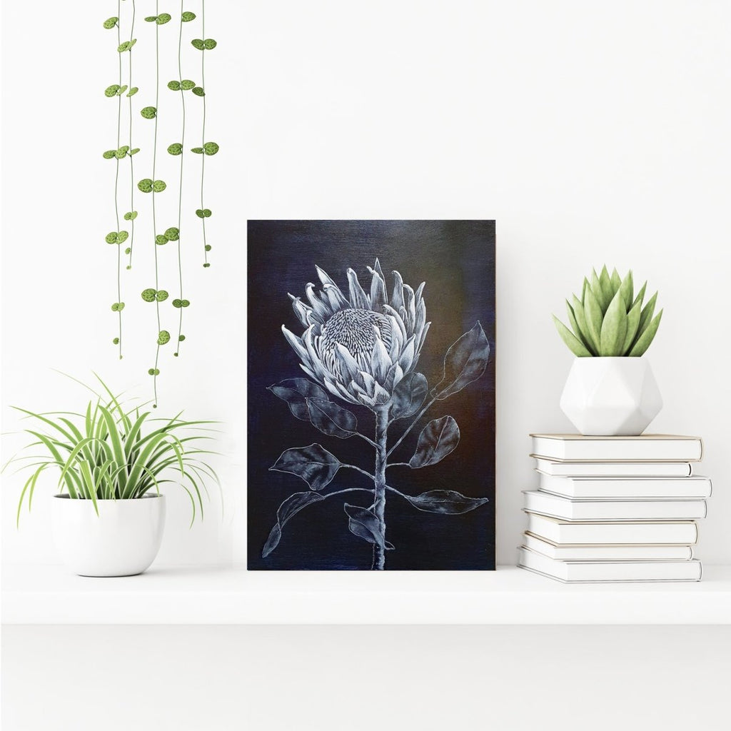 King Protea Woodblock Painting 25x35cms No 12 - Artista Style
