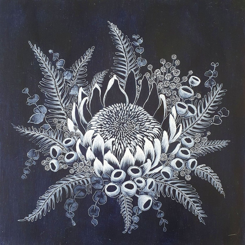 King Protea Woodblock Painting 30x30cms square No 16 - Artista Style