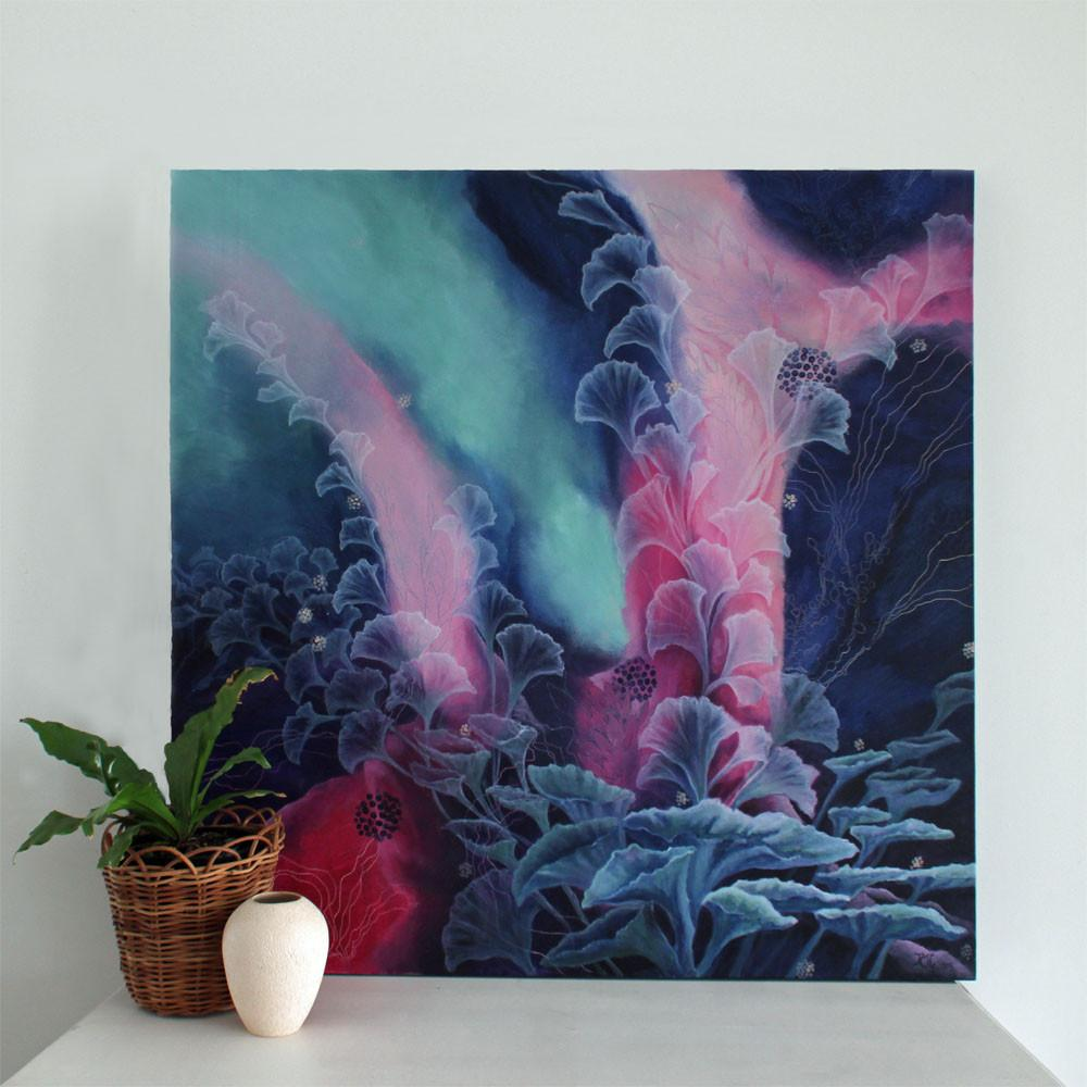 Large Abstract Painting Blue Pink Turquoise 91 x91cms 36x36 inch 'Night Current' - Artista Style