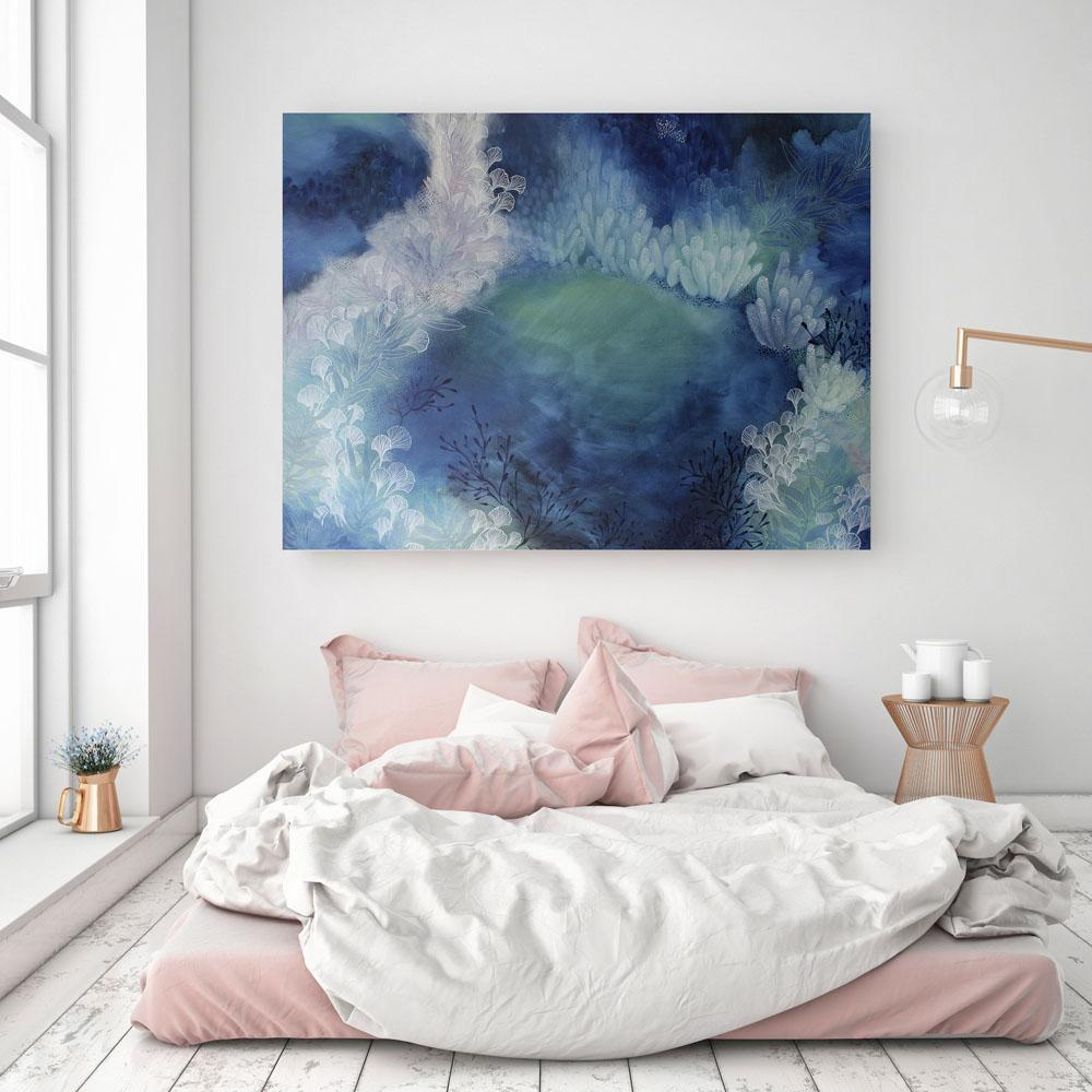 Large Abstract Painting in Blue and Green 120 x 90 cms Colourful Original Artwork The Green Hole - Artista Style