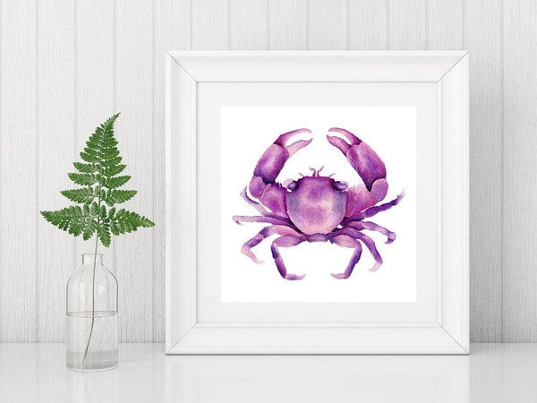 Magenta Pink Crab Watercolor Art Print of an Original Watercolour Painting Beach House Decor - Artista Style