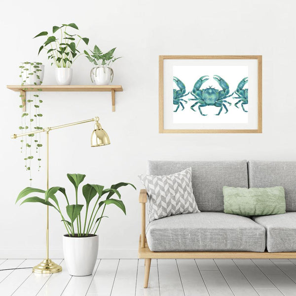 Marching Green Crabs Limited Edition Art Print of Watercolor Painting Ocean Art - Artista Style
