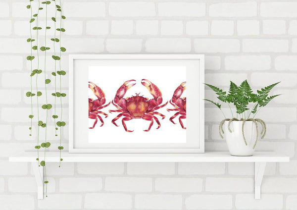 Marching Red Crabs Watercolour Art Print Limited Edition Scientific Illustration Nautical Art - Artista Style