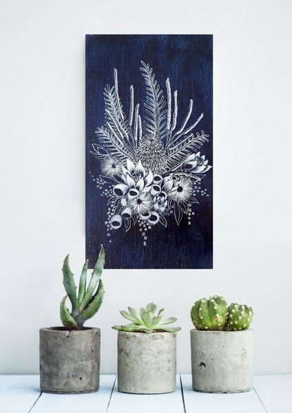 Native flowers Bouquet Woodblock Painting Indigo Blue White 14 x 25cm No 19 - Artista Style