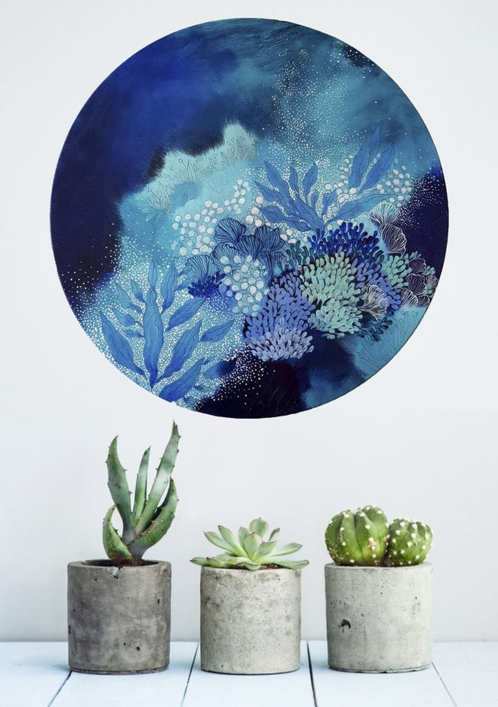 Navy Blue turquoise and white painting inspired by organic ocean forms. 'Sea Garden' 50 cms Round painting - Artista Style