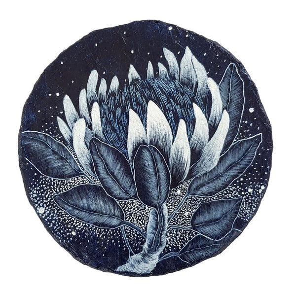 An original painting of Protea wildfower in blue and white on paper porthole.  Original one of a kind art created by Rebecca Coulter