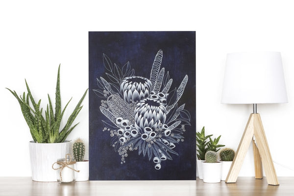 Protea Bouquet Woodblock Painting 25x35cms No 11 - Artista Style