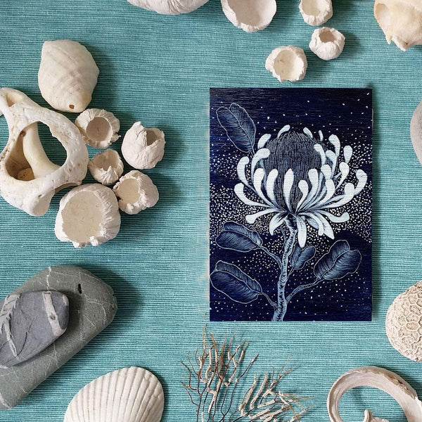 Protea wildflower woodblock painting in Navy Blue White Original one of a kind Australian Art - Artista Style