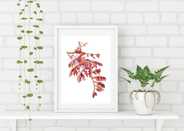 Red Leafy Sea Dragon Seahorse Watercolor Art Print Beach House Art Coastal Decor - Artista Style