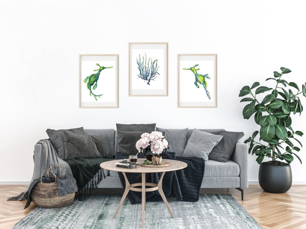SET OF 3 ART PRINTS SEADRAGONS AND SEAWEED - Artista Style