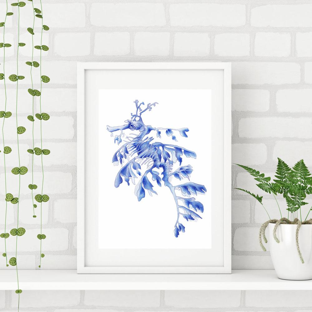 SET OF 3 BLUE ART PRINTS SEADRAGON OCTOPUS FEATHER - Artista Style