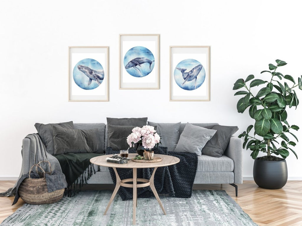 SET OF 3 HUMPBACK WHALE ART PRINTS - Artista Style