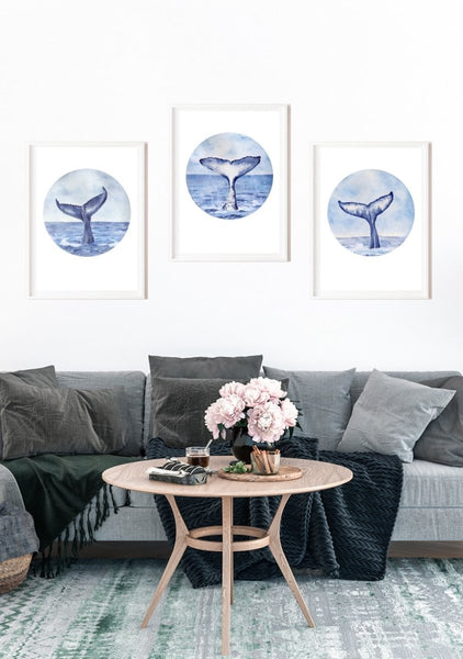 SET OF 3 WHALE TAIL ART PRINTS - Artista Style