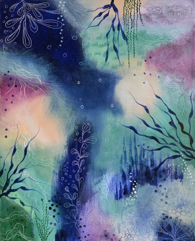Small Abstract Painting 40 x50 cms 16x20 inches Indigo Blue Peach Mint Berry 'Underwater Garden' - Artista Style