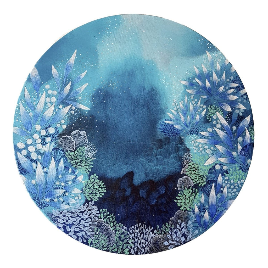 Turquoise blue and white painting coral reef inspired semi abstract round painting 'The Way' 50cms diameter - Artista Style
