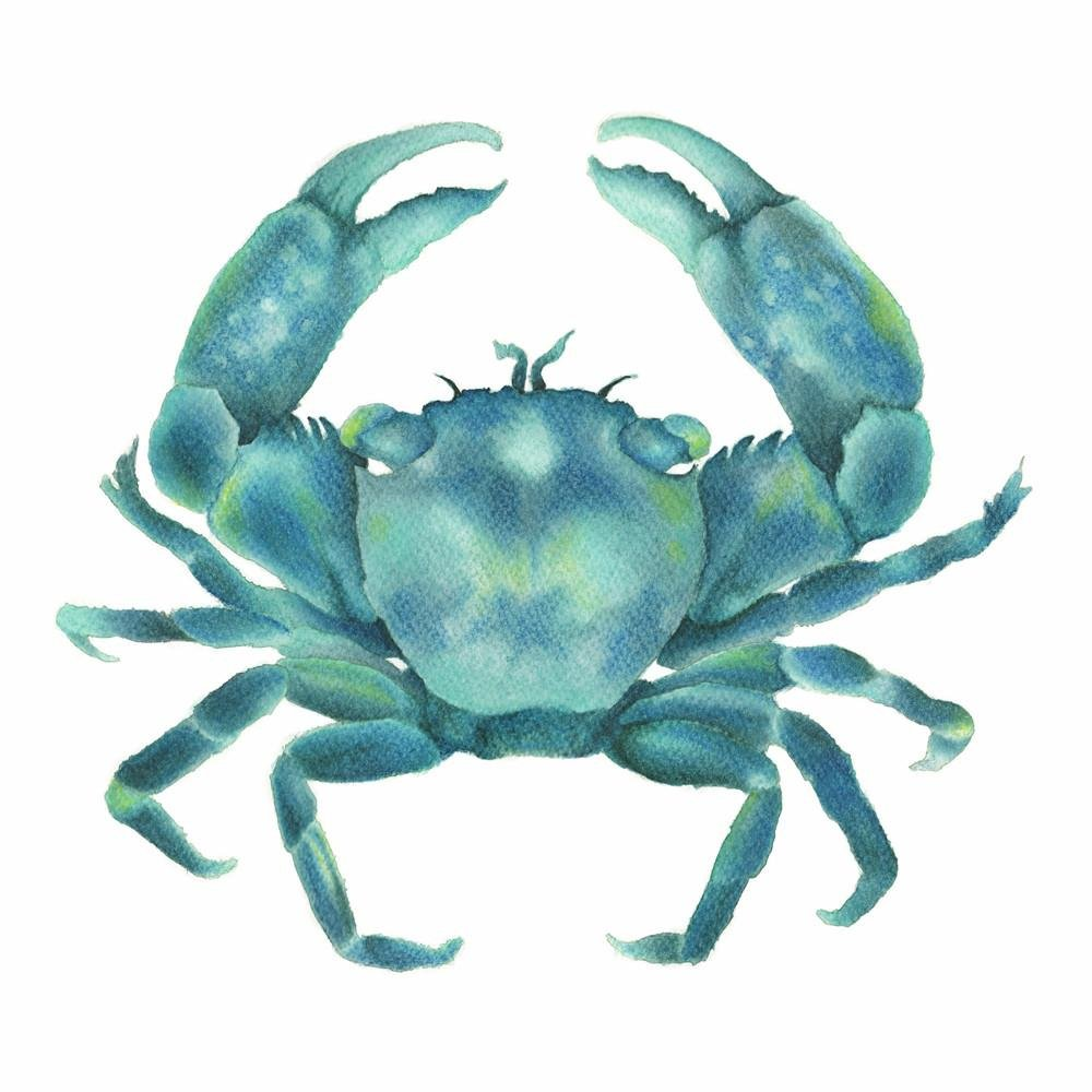 Turquoise Green Crab watercolour Square Art Print - Artista Style