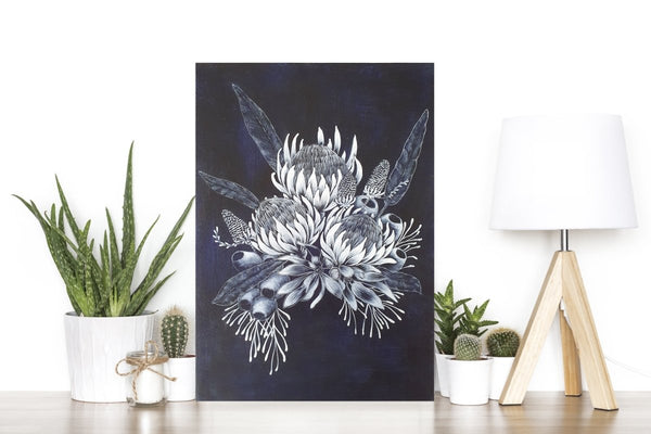 Waratah Bouquet Woodblock Painting Blue White 25x35cms No 13 - Artista Style