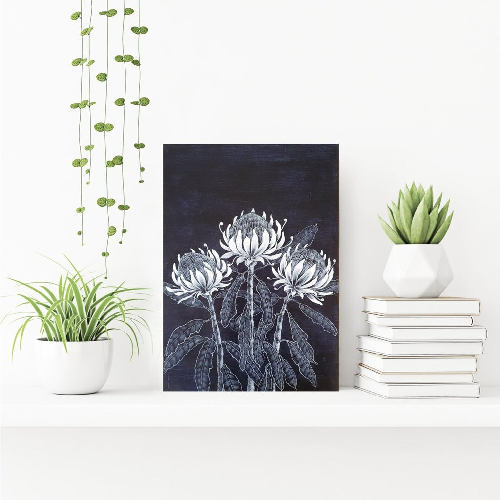 Waratah Flowers Woodblock Painting Blue White 25x35cms No 14 - Artista Style