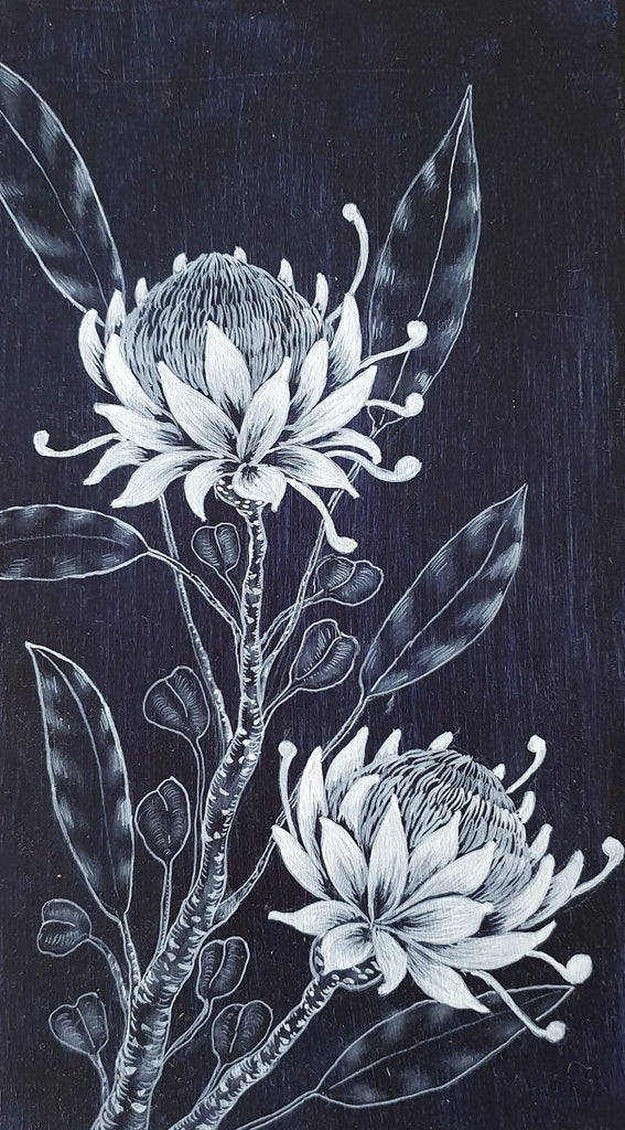 Waratah flowers Woodblock Painting Indigo Blue White 14 x 25cm No 22 - Artista Style