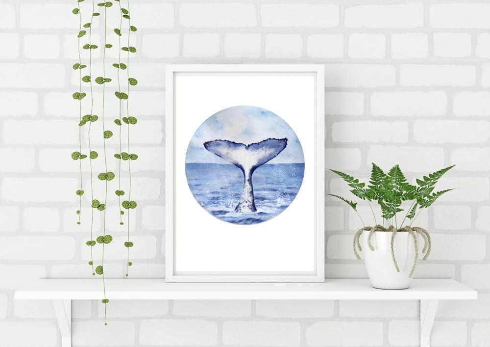 Whale Tail painting Watercolour Art Print No 1 - Artista Style