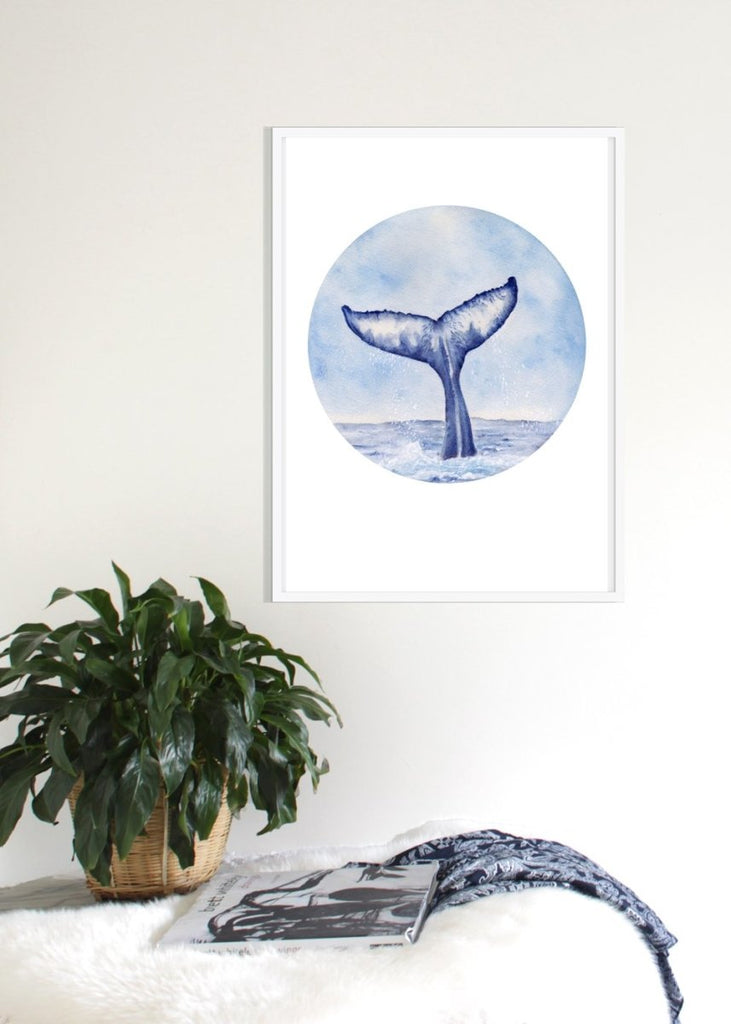 Whale Tail Watercolour painting Art Print No 2 - Artista Style