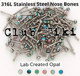 Stainless Steel Opal Nose Bone 20 gauge - Club Tiki  - 1