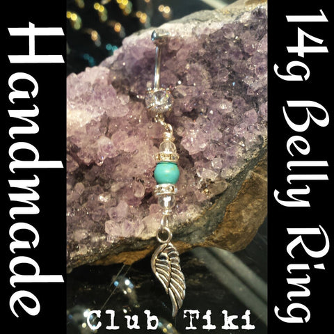 Belly Ring-Turquoise with bling and wing - Club Tiki