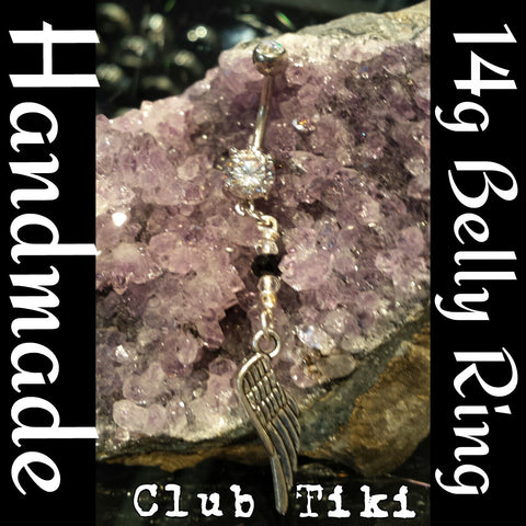 Belly Ring-clear/black cz and wing - Club Tiki