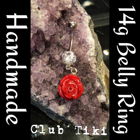 Belly Ring Coming up Roses Red - Club Tiki