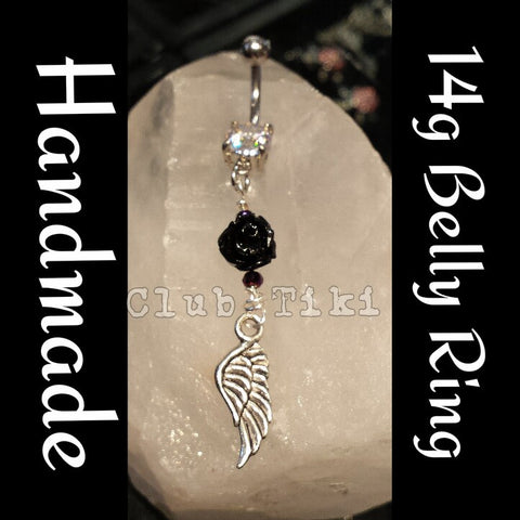 Black Rose & Wing Belly Ring - Club Tiki