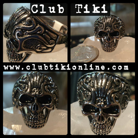 Filigree Skull Ring - Club Tiki