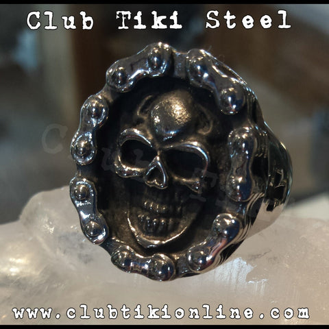 Motorcycle Chain Skull Ring - Club Tiki  - 1