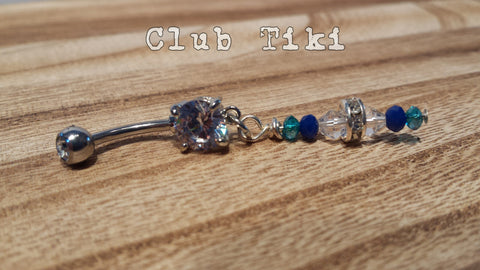 Sea Glass Crystal Belly Ring - Club Tiki  - 1