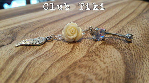 Belly Ring-clear cz, cream rose and dangle - Club Tiki  - 1