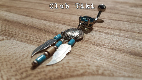 Belly Ring Turquoise Mandella - Club Tiki  - 1