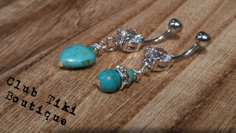 Set of 2 Turquoise Belly Rings - Club Tiki  - 1