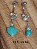 Set of 2 Turquoise Belly Rings - Club Tiki  - 2