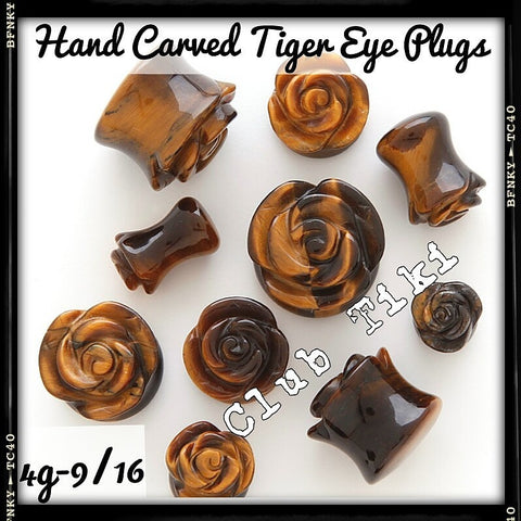 Hand Carved Tiger Eye Double Flare Plugs - Club Tiki