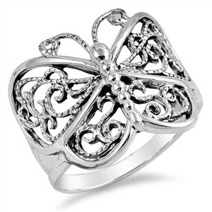 Sterling Silver Filigree Butterfly Ring - Club Tiki