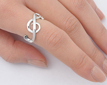Sterling Silver Treble Clef Ring - Club Tiki  - 1
