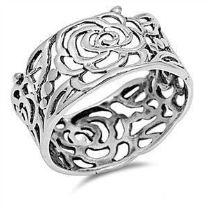 Sterling Silver Filigree Rose Band Ring - Club Tiki