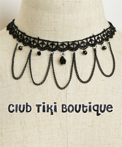 Black Lace and Chain Choker - Club Tiki