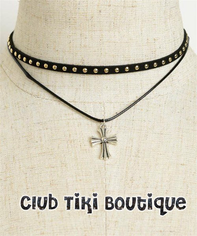 Black Studded Choker with Cross Pendant - Club Tiki