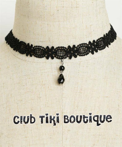 Black Lace Choker with Teardrop Pendant - Club Tiki